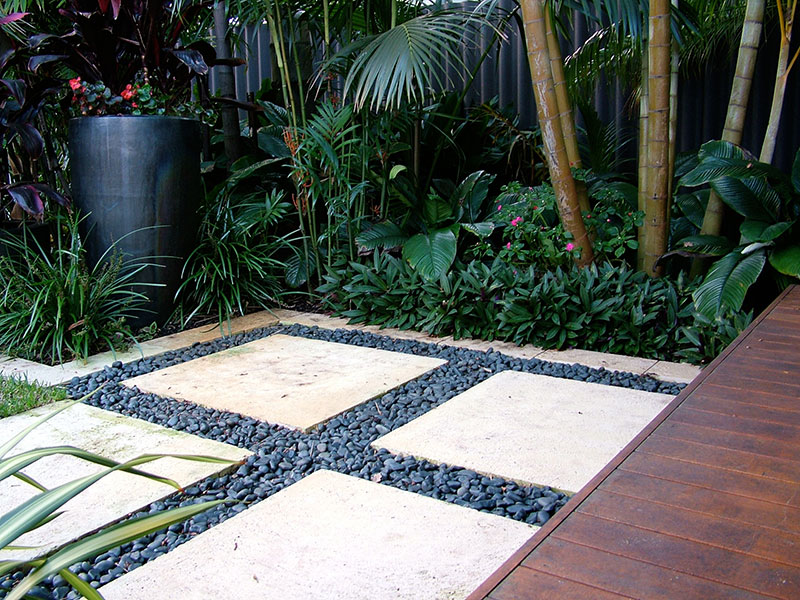 Pavers in tropical garden